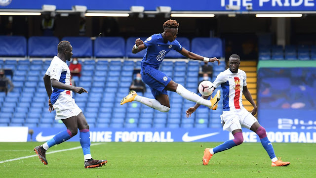 Tammy Abraham in flight as a he controls the ball in Chelsea win over Crystal Palace