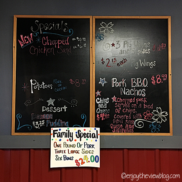 Menu/special board at Tin Top BBQ