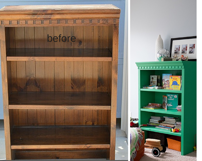 before and after of bookcase diy