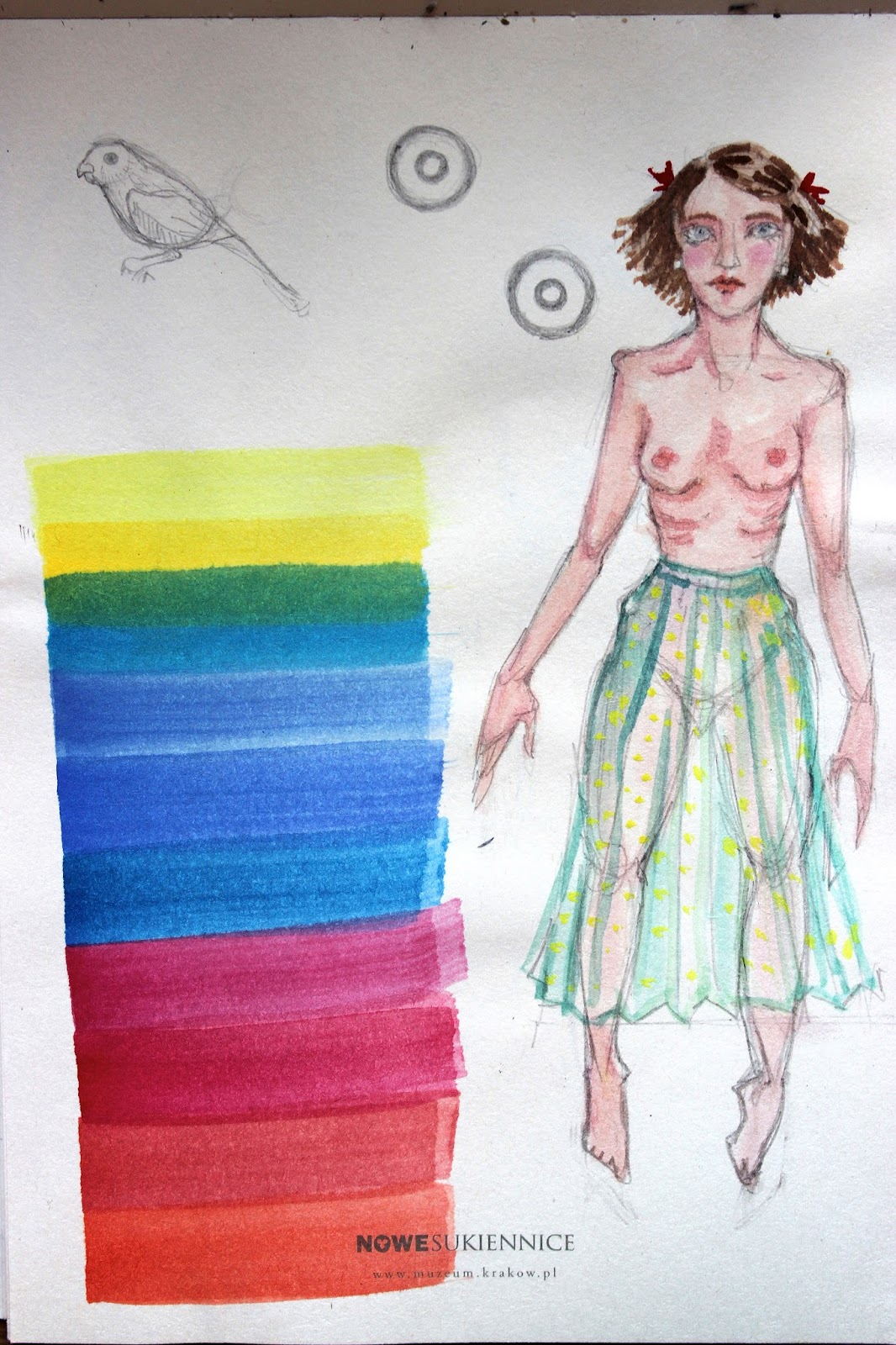 Sketch Drawing Notebook Pencil Colours Nude Woman