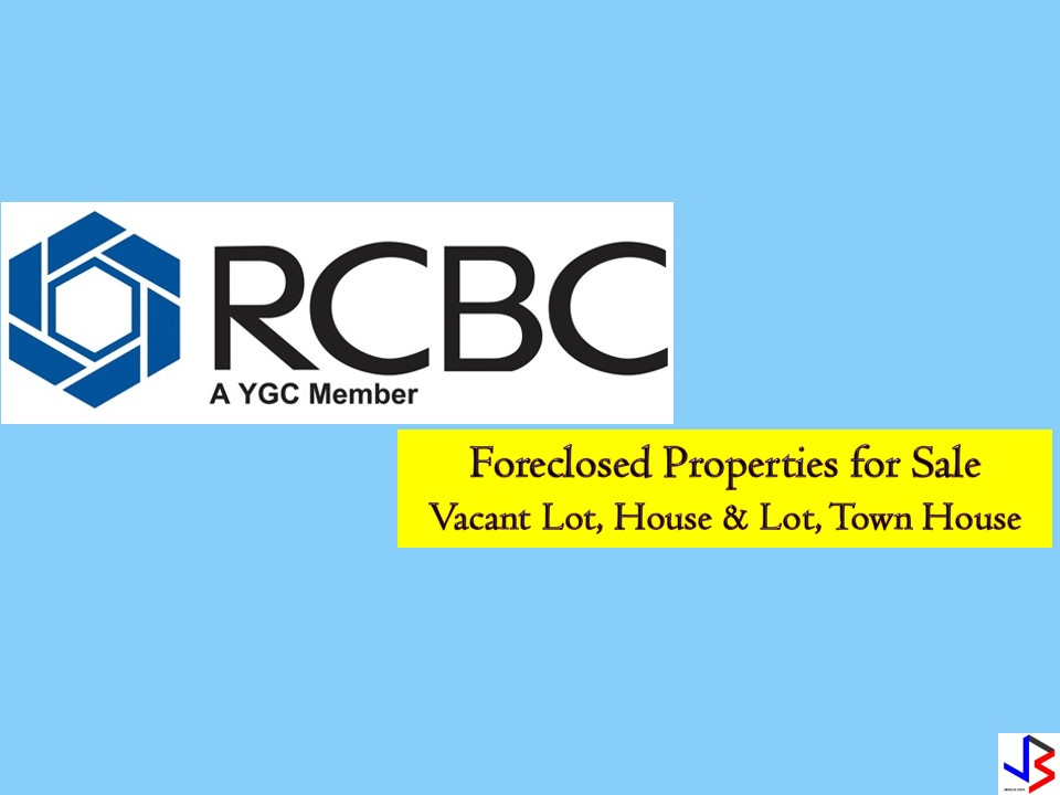 The following are foreclosed properties from Rizal Commercial Banking Corporation (RCBC) that you can purchase for this month of December 2018. One of the best gifts we can give to our family this Christmas is a house or a home lot where we can build our dream home in the future!  There are many properties on the list where you can choose from a vacant lot, house and lot, townhouse, among others. The following are a list of foreclosed properties for sale from RCBC! Real-estate properties are a good investment nowadays since the value is increasing after a few years time! Note: Jbsolis.com is not affiliated with RCBC and this post is not a sponsored. All information below is for general purpose only. If you are interested in any of these properties, contact directly with the bank's branches in your area or in contact info listed in this post. Any transaction you entered towards the bank or any of its broker is at your own risk and account.