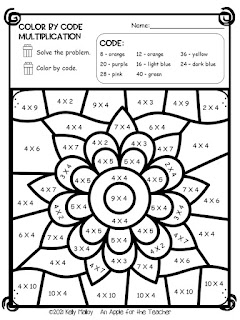 Diwali Color by Number Multiplication flower black and white