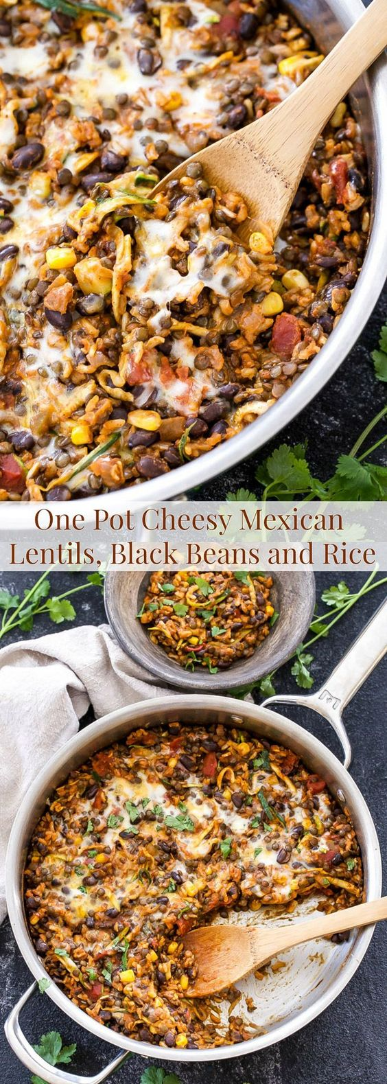 INGREDIENTS 1/2 of a yellow onion, diced 1 clove of garlic, grated or minced 1/2 cup uncooked long grain brown rice 1/2 cup uncooked French green lentils, rinsed (red or brown lentils may also be used) 2-3 cups low sodium vegetable stock 1 teaspoon chili powder 1/2 teaspoon ground cumin 1/4 teaspoon ground chipotle powder (optional) Kosher salt and fresh ground black pepper to taste 15 ounces black beans (canned), rinsed and drained 1/2 cup fire roasted tomatoes, drained 4 ounces diced green chiles (canned) 1 small zucchini, shredded 1/2 cup frozen corn, defrosted 1 cup red enchilada sauce 3/4 cup shredded cheese, I used sharp cheddar and part skim mozzarella Cilantro for garnish (optional) INSTRUCTIONS Heat a large pot or saucepan over medium high heat. When the pot is heated spray with cooking oil and add in the onion and garlic. Sauté for a couple minutes then add in the brown rice and lentils.