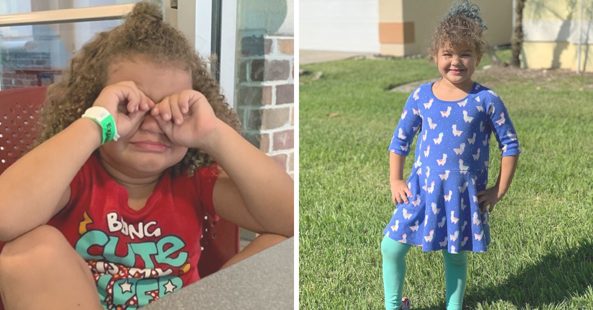 A curly haired girl in both pictures. The left, she is crying with her hands covering her eyes and wearing a red shirt. On the left, she is smiling and standing in the grass, wearing teal leggings and a blue dress with llamas on it.