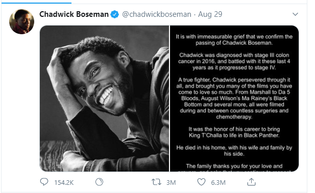 Black Panther Star Chad Wick Boseman Death
