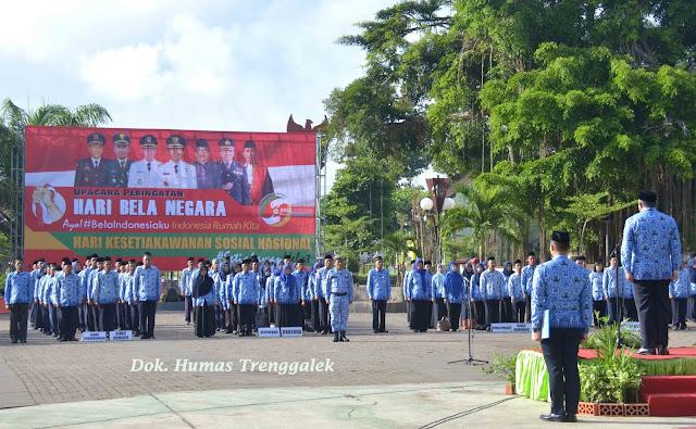 Pemkab Trenggalek Peringati Hari Bela Negara ke-70 dan Hari Kesetiakawanan Sosial Nasional tahun 2018