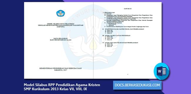 Model Silabus RPP Pendidikan Agama Kristen dan Budi Pekerti SMP Kurikulum 2013 Kelas VII, VIII, IX