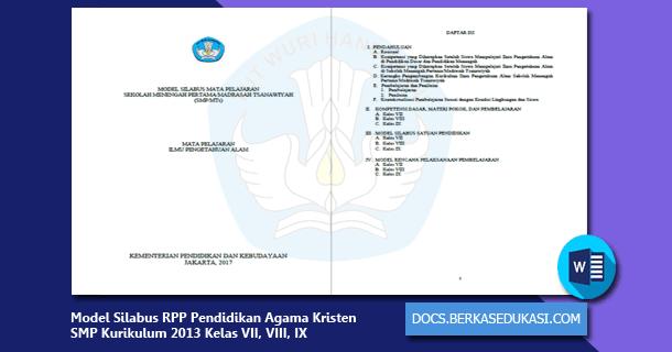 Model Silabus Rpp Pendidikan Agama Kristen Dan Budi Pekerti Smp Kurikulum 2013 Kelas Vii Viii Ix Dokumen Berkas Edukasi