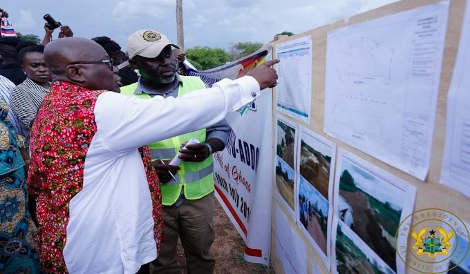 President Akufo-Addo Inspects 1-Village-1-Dam Project Site In Bongo