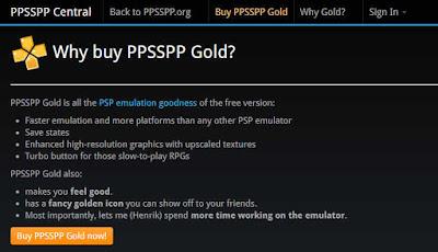 Tidak ada beda PPSSPP versi gold dan biasa