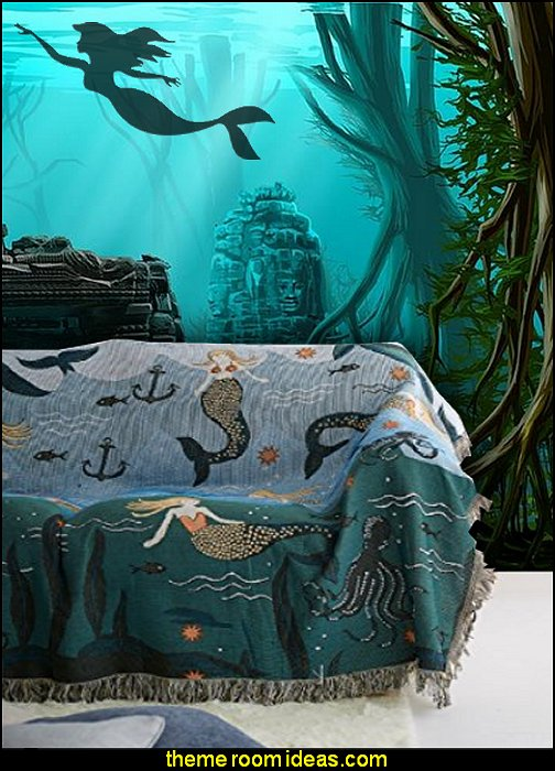 Mermaid Blanket underwater bedroom ideas - under the sea theme bedrooms - mermaid theme bedrooms - sea life bedrooms - Little mermaid princess Ariel - Sponge Bob theme bedrooms - mermaid bedding - Disney's little mermaid - clamshell bed - mermaid murals - mermaid wall decal stickers -