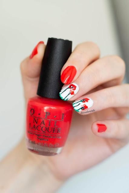 nail art coquelicot
