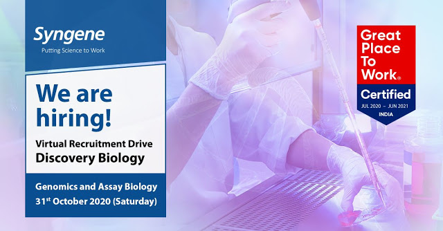 Syngene International | Virtual Recruitment Drive for Discovery Biology on 31st Oct' 2020 for Bangalore location