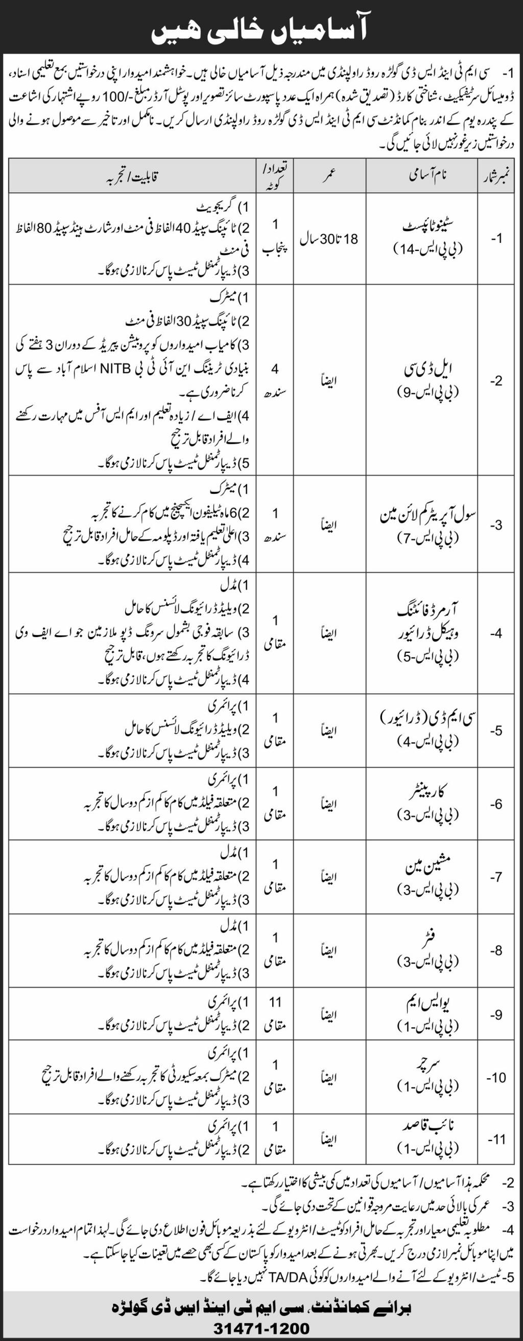 Latest Pak Army Jobs 2021 - CMT & SD Rawalpindi Cantt Jobs Jobs 2021 - Jobs For Primary, Middle, Matric, Intermediate Degree, Bachelor Degree, Master Degree Candidates