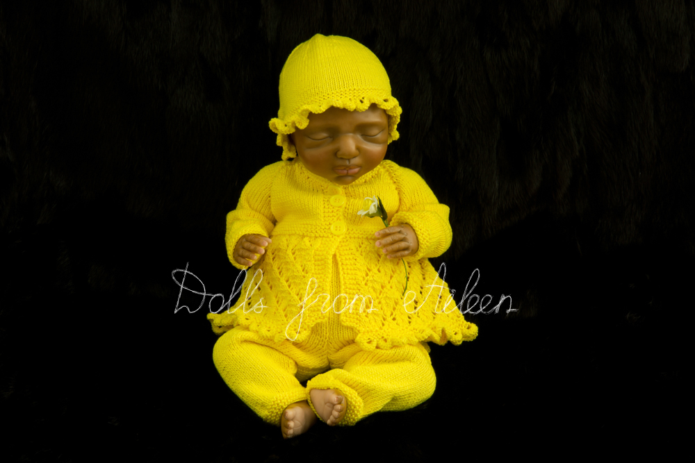 OOAK Hand Sculpted Sleeping Indian Baby Girl Doll