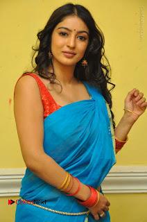 Telugu Actress Vaibhavi Stills in Blue Saree at Www.Meena Bazaar Movie Opening  0048.JPG