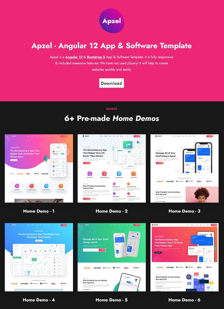 Apzel - Angular 12 SaaS App & Software Startup Template