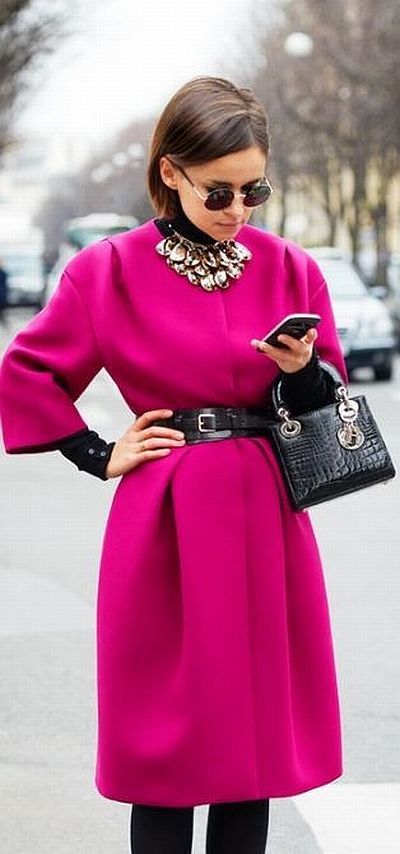 street style: awesome hot pink coat with black details
