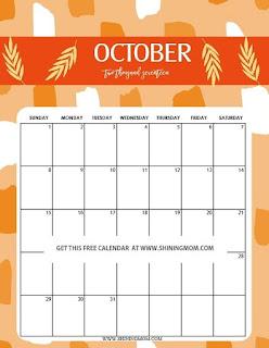 Free Printable Calendar October 2018