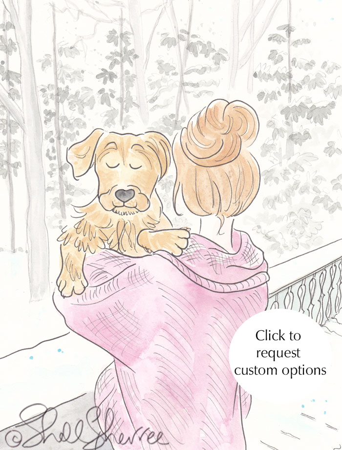 Puppy Hugs and Winter Woollies Fashion & Fluffballs illustration © Shell Sherree all rights reserved
