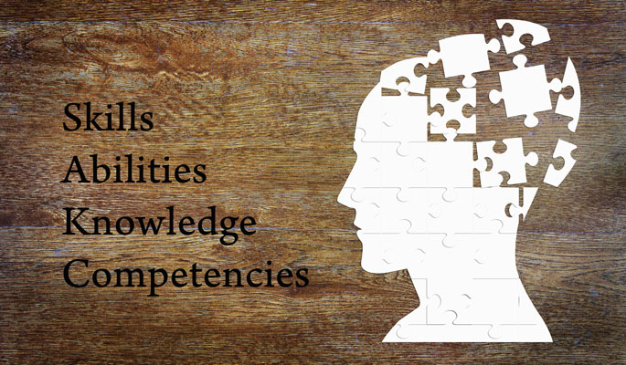 skills and abilities background concept wordcloud illustration of