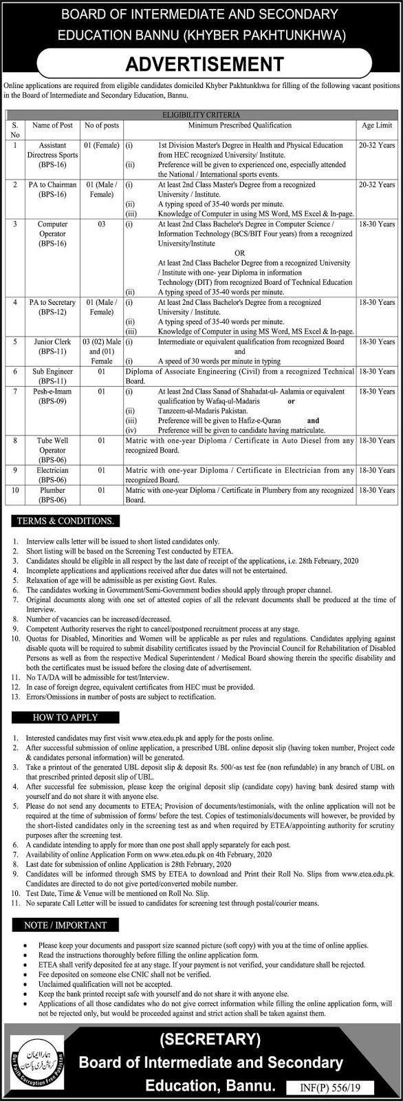 Jobs in Board of Intermediate and Secondary Education KPK Bannu 2020