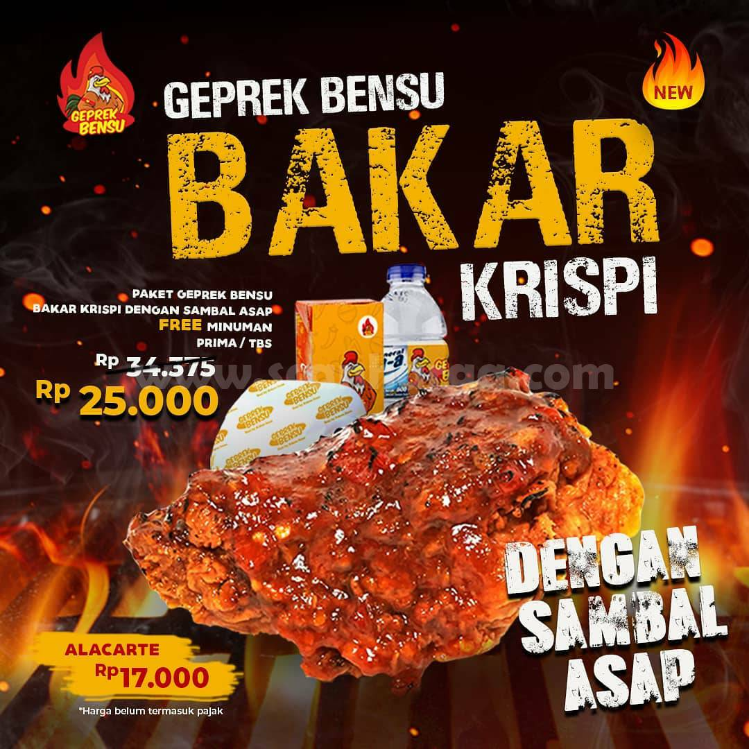 Baru! Paket Geprek Bensu Bakar Krispy dengan Sambal Asap harga cuma Rp 25.000*