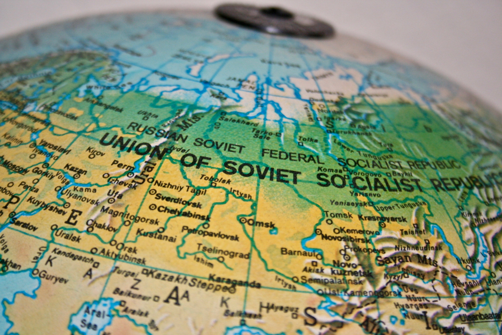 map of soviet union on a globe