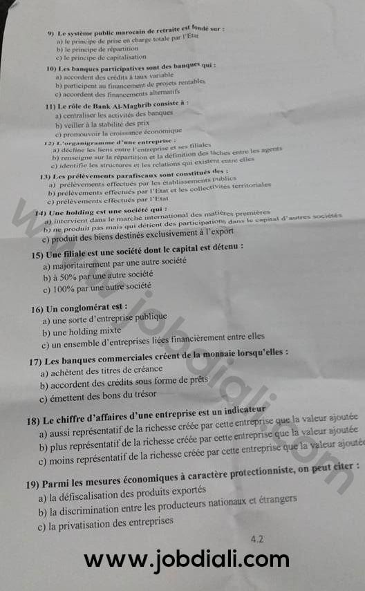 Exemple Concours de Recrutement au Inspecteur des Finances 2016 - Ministère de l'Economie et des Finances