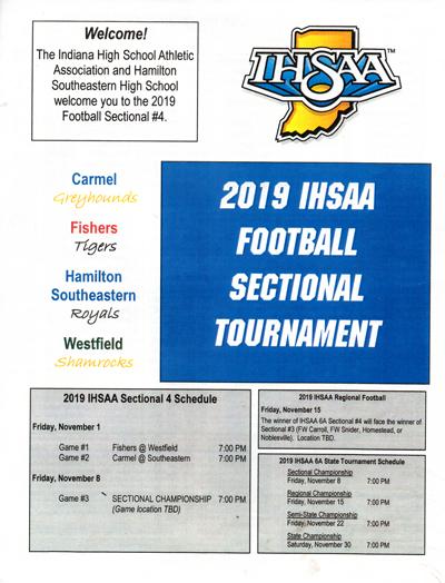 2019 IHSAA Class 6A Football Sectional Tournament program for Hamilton Southeastern Royals vs. Carmel Greyhounds