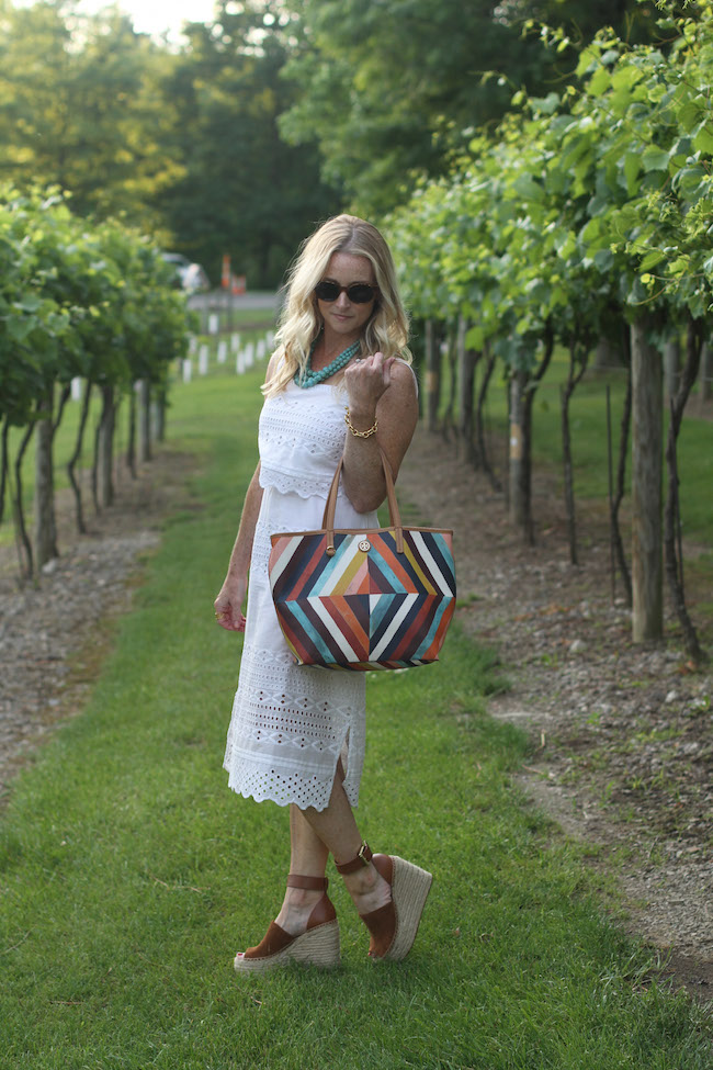 jcrew white dress, tory burch bag, humblechic necklace, marc fisher sandals