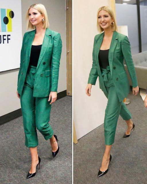Ivanka Trump shows off model figure in eye-catching emerald suit and killer heels in Texas