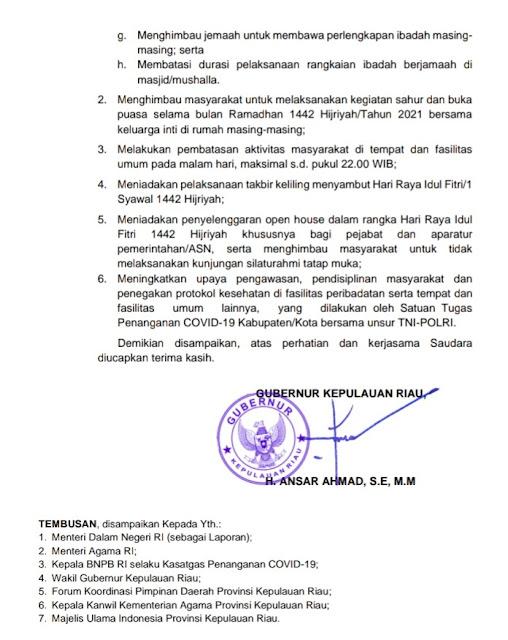 Gubernur Kepri Terbitkan Pembatasan Kegiatan saat Ramadan dan Idul Fitri.