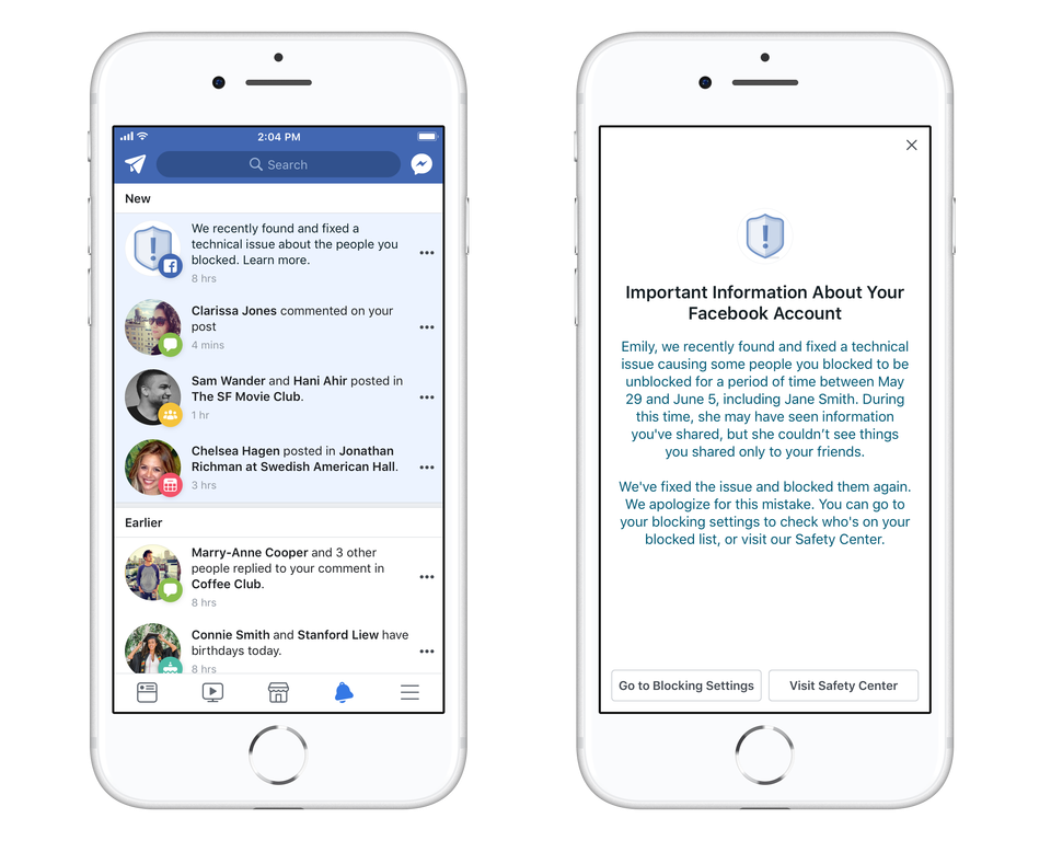 Facebook privacy bug unblocked people who had been blocked