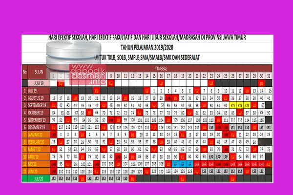 Kalender Pendidikan Provinsi Jawa Timur Tahun Pelajaran 2019/2020, Kalender Pendidikan Tahun Pelajaran 2019/2020 Provinsi Jawa Timur untuk SD/MI, SMP/MTs, SMA/MA, SMK/MAK, Kalender Pendidikan SD/MI, SMP/MTs, SMA/MA, SMK/MAK Provinsi Jawa Timur Tahun Pelajaran 2019/2020