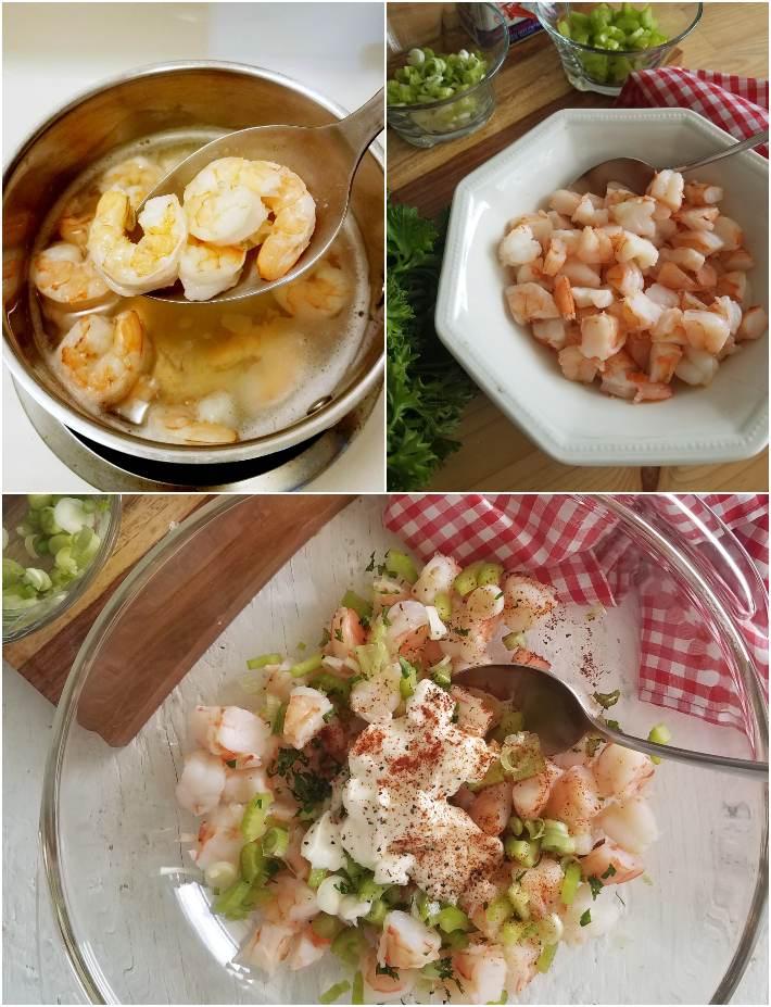 Cómo hacer el relleno de camarones para los sandwiches, collage de 3 fotos