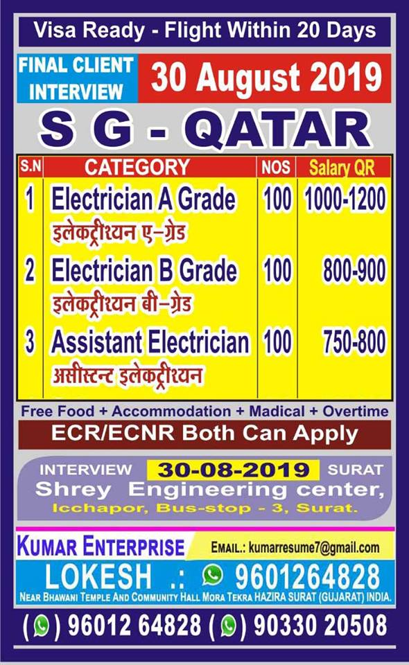 QATAR JOBS : URGENTLY REQUIRED FOR SG QATAR - gulf jobs