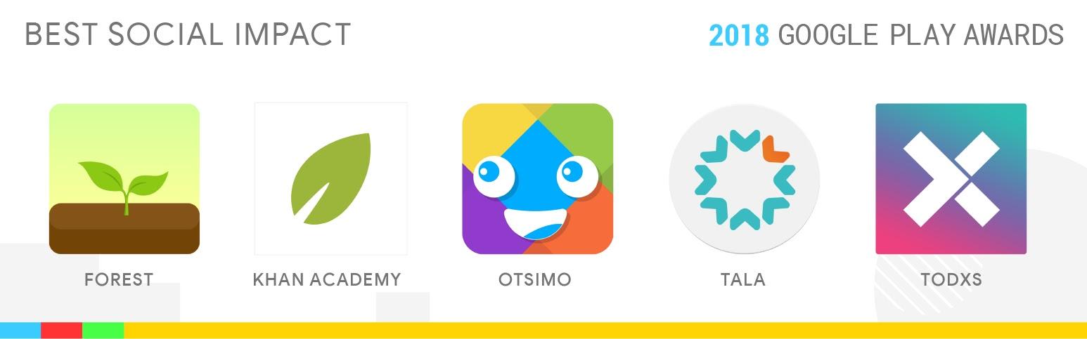 Best Social Impact: Forest, Khan Academy, Otsimo, Tala, TODXS