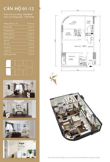 Thiết kế căn hộ 01-12 tòa IP1, diện tích 119m2, 3 phòng ngủ