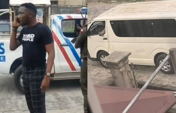 [VIDEO] RRS officers stop armed policemen from taking Timi Dakolo and his wife, Busola to Abuja