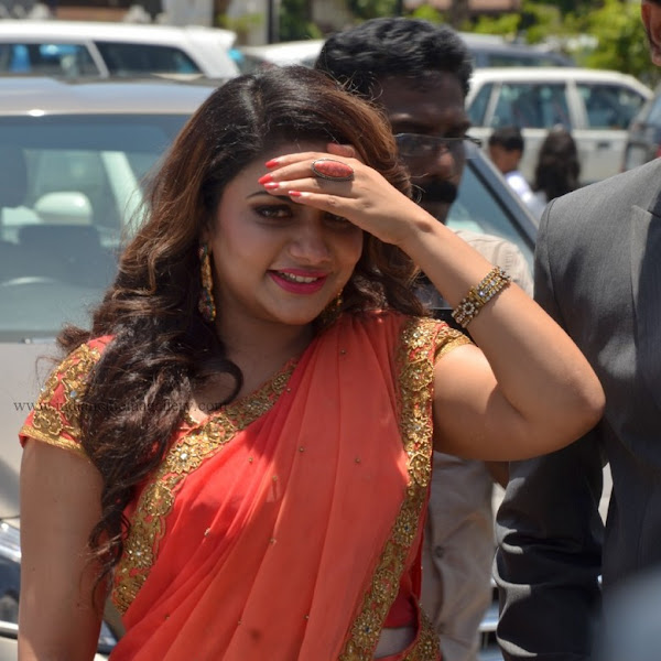 Rimi Tomy latest photos in saree from Muktha Marriage function