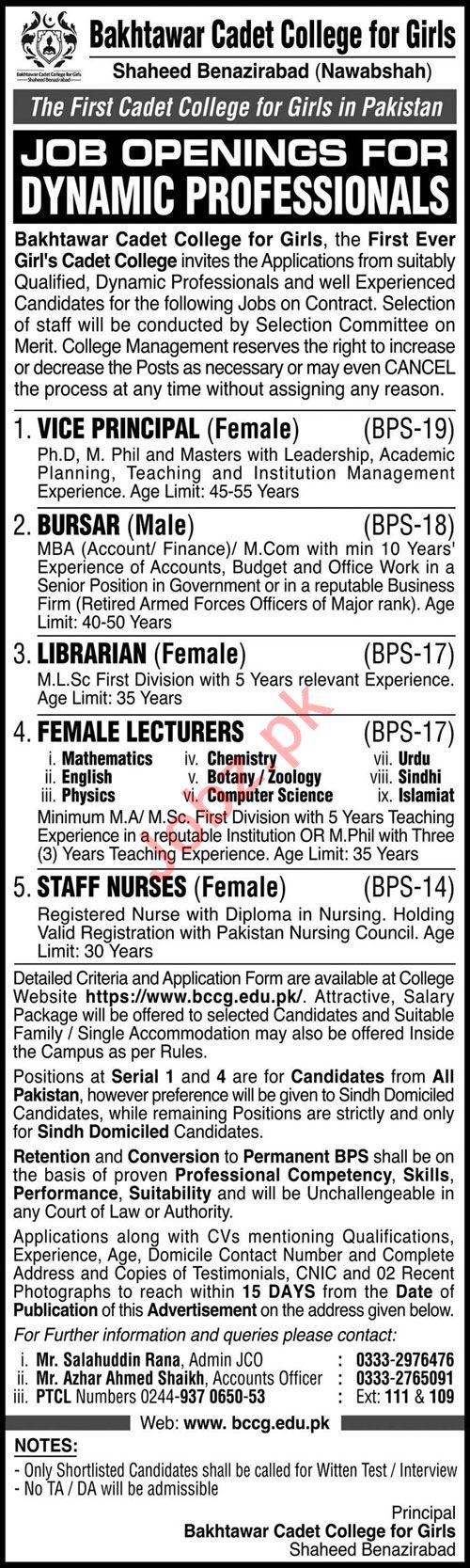 Jobs in Bakhtawar Cadet College for Girls
