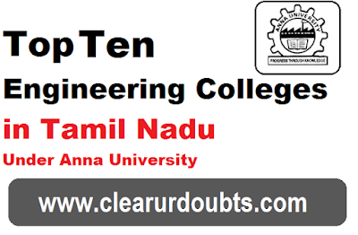 List of Top 10 Engineering Colleges in Tamil Nadu 2017 under Anna University