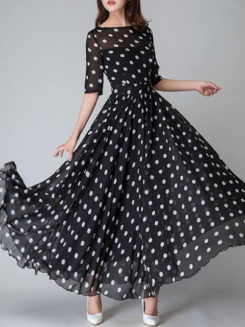 Round Neck Ruffled Hem Polka Dot Maxi Dress