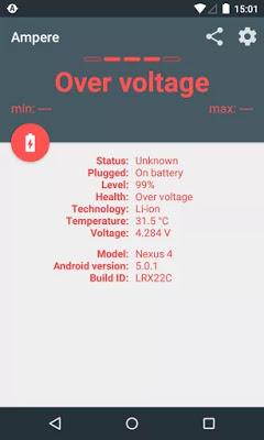 تطبيق Ampere v3.20 Pro لمعرفة الفولت الذي تحتاجه لشحن البطارية للاجهزة الاندرويد
