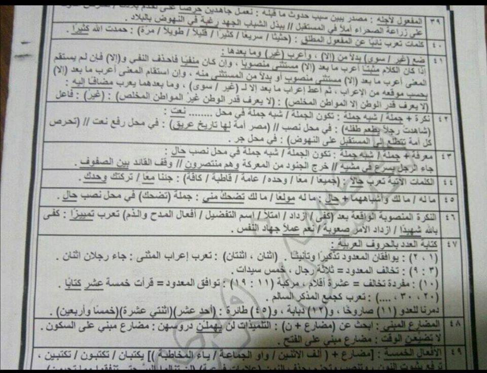 أقوى مراجعات اللغة العربية للصف الثالث الثانوي 40