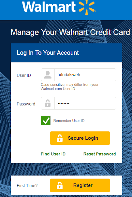 Walmart Credit Card Login Page