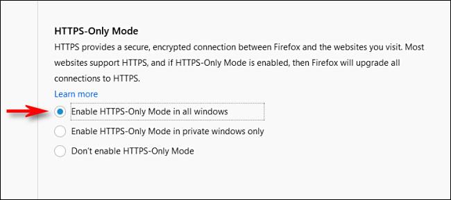 """في خيارات خصوصية Firefox ، حدد """"وضع HTTPS فقط في جميع النوافذ."""""""