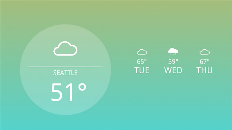 Many digital signage solutions like Enplug offer a built-in Weather app or scrolling weather feed.