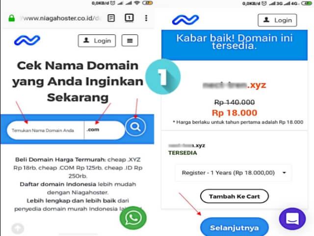 Cek ketersediaan nama Domain